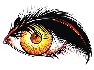 Beautiful tattoo eye with fire in it