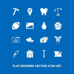 Modern, simple vector icon set on blue background with dentist, restaurant, pen, spanner, business, audio, health, wood, valentine, healthy, razor, tool, office, hammer, barn, justice, tower icons