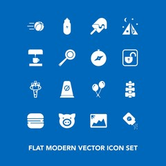 Modern, simple vector icon set on blue background with pig, sweet, baby, gym, picture, food, ball, alcohol, photo, celebration, powder, lifestyle, street, birthday, cheeseburger, sport, football icons