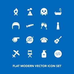 Modern, simple vector icon set on blue background with blue, bottle, no, landscape, fireplace, clean, concept, music, camera, whistle, picture, photo, hygiene, substitute, replacement, nature icons