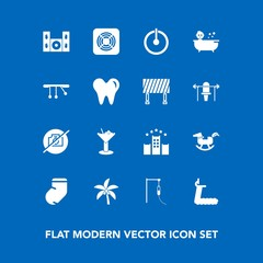 Modern, simple vector icon set on blue background with alcohol, winter, medicine, home, picture, drink, kid, summer, switch, treadmill, speaker, sign, tropical, fan, socks, glass, palm, shower icons
