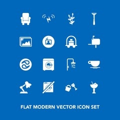 Modern, simple vector icon set on blue background with razor, frame, cafe, cocktail, wheat, sun, armchair, ecology, wash, tv, shovel, japan, dont, shower, photo, coffee, table, alcohol, mon, bar icons