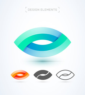 Vector abstract eye logo template. Material design, flat and line art style. Letter O