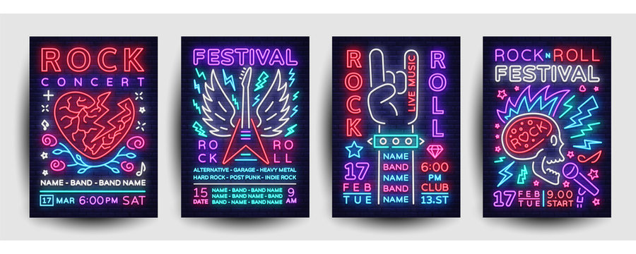 Rock music concert poster collection vector. Design Template Rock Music Festival Flyers set, Neon Style, Neon Banner, Light Flyer, Concert Invitation, Rock Roll Music, Night Party Invitation. Vector
