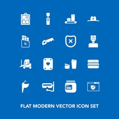 Modern, simple vector icon set on blue background with picture, truck, glass, cowboy, sink, car, cargo, security, jam, game, image, sheriff, check, food, snorkel, cup, hamburger, west, cafe, sea icons