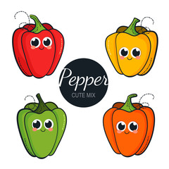 Cute character pepper isolated on white background. Cartoon red, yellow, orange and green peppers