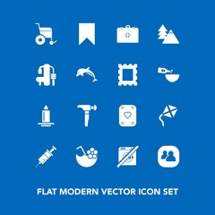 Modern, simple vector icon set on blue background with dentist, cocktail, emergency, kite, sign, social, wheelchair, sport, fitness, light, game, tree, play, wash, exercise, bookmark, forest icons