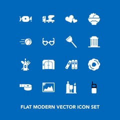 Modern, simple vector icon set on blue background with food, file, heart, photo, adhesive, dessert, drink, mixer, image, agriculture, cement, picture, doughnut, glass, phone, wine, folder, sweet icons