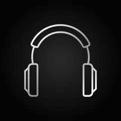 Headphones vector silver modern icon in thin line style