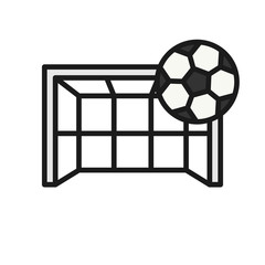 football goal kick icon. ball hit goalpost illustration. simple illustration outline style sport symbol.