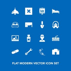 Modern, simple vector icon set on blue background with tool, document, annual, double, photo, bed, lamp, dental, communication, upload, wrench, phone, old, frame, music, dentist, machine, light icons