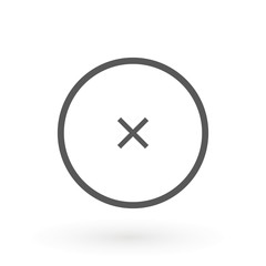 Cross icon in circle. Can be used as delete, block close button etc. Delete X Cross rounded icon is flat iconic symbol inside a circle. Designed for web and software interfaces.