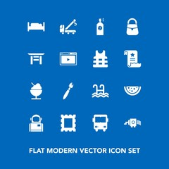 Modern, simple vector icon set on blue background with sign, space, spray, picture, water, cooking, tow, border, bedroom, bus, brush, photo, online, grater, transport, bag, icecream, cosmos, car icons