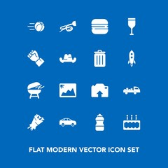 Modern, simple vector icon set on blue background with wine, red, drink, game, frame, left, blossom, music, bottle, ball, sound, cooking, floral, delivery, truck, snack, beautiful, highway, move icons