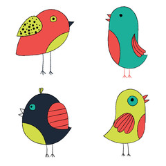 Cute hand drawn birds. Colorful birds collection. Isolated on white vector set.