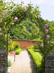 Garden gate arch with climbing roses leading to a sunlit walled garden