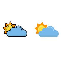cartoon sun vector with a cloud set