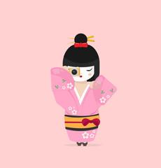 Cute Japanese  Geisha  dressed