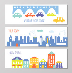 Banner with cute city and town elements, funny design. Vector graphic illustration