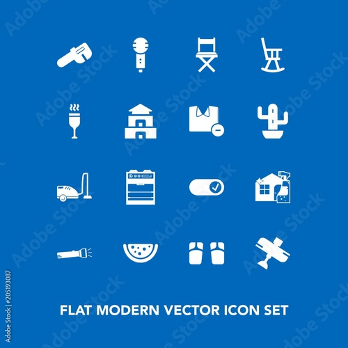 Modern, simple vector icon set on blue background with