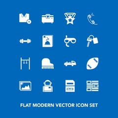 Modern, simple vector icon set on blue background with truck, shirt, delivery, data, photo, shipping, astronaut, phone, game, piano, internet, t-shirt, image, equipment, space, menu, file, frame icons