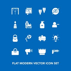 Modern, simple vector icon set on blue background with leisure, summer, communication, boiler, loudspeaker, underwater, idea, space, bag, fashion, sport, royal, handle, crown, picture, no, glass icons