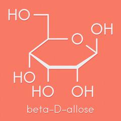 Allose (beta-D-allopyranose form) sugar molecule. Skeletal formula.