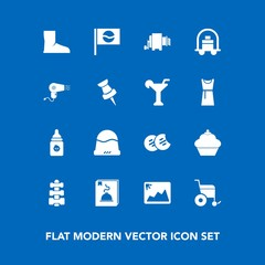 Modern, simple vector icon set on blue background with cookie, cap, hotel, equipment, service, clothing, sign, menu, frame, wheelchair, handicap, fashion, asia, nutrition, travel, fitness, pasta icons