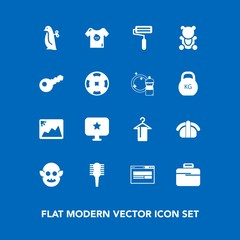 Modern, simple vector icon set on blue background with kid, photo, paint, brush, frame, salmon, fiction, seafood, computer, roller, hanger, penguin, child, image, sign, children, sushi, business icons