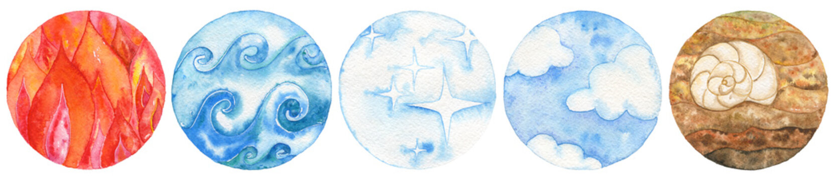 Five natural elements: fire, water, ether, air and earth. Watercolor illustration set.