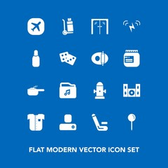 Modern, simple vector icon set on blue background with competitive, glass, social, airplane, department, competition, cinema, dish, speaker, safety, dinner, music, fashion, door, pot, meal, drop icons