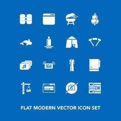 Modern, simple vector icon set on blue background with sign, construction, sea, fashion, website, file, bbq, candle, white, cake, meat, tank, oxygen, photo, notification, no, browser, message icons
