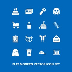 Modern, simple vector icon set on blue background with wedding, library, ufo, business, fiction, chart, image, trash, cap, tool, sweet, fashion, kitchen, ring, peeler, alien, picture, hat, store icons
