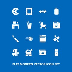 Modern, simple vector icon set on blue background with picture, palette, appliance, salt, document, health, hygiene, soccer, river, exercise, photo, activity, care, travel, shipping, file, water icons