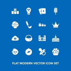 Modern, simple vector icon set on blue background with kid, summer, dessert, play, location, building, restaurant, photo, childhood, video, hotel, cinema, home, architecture, ice, church, food icons