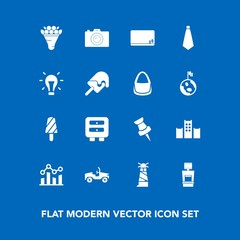 Modern, simple vector icon set on blue background with graph, flower, photographer, finance, blackboard, decoration, ocean, business, vacation, lighthouse, pink, blank, bed, pin, ice, dessert icons
