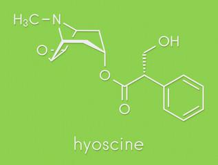 Scopolamine (hyoscine) anticholinergic drug molecule. Used in treatment of nausea, vomiting and motion sickness. Skeletal formula.