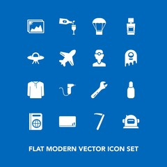Modern, simple vector icon set on blue background with clinic, hammer, bowling, science, cone, photo, balloon, clothing, alcohol, dentistry, space, immigration, blank, picture, ufo, drink, chalk icons