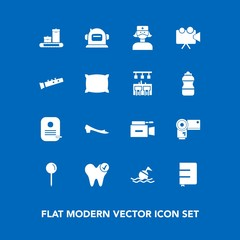 Modern, simple vector icon set on blue background with technology, life, photographer, identity, photography, drop, page, dental, lifebuoy, equipment, book, space, film, health, safety, helmet icons