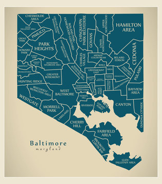 Modern City Map - Baltimore Maryland city of the USA with neighborhoods and titles
