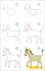 Page shows how to learn step by step to draw a cute donkey. Developing children skills for drawing and coloring. Vector image.