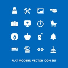 Modern, simple vector icon set on blue background with conditioner, alarm, microphone, coffee, juice, traffic, restaurant, picture, bell, equipment, plate, wrench, road, hammer, healthy, image icons