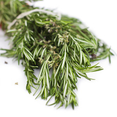 A fresh rosemary on a white background