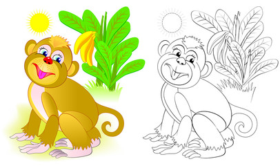 Colorful and black and white pattern for coloring. Illustration of cute monkey. Worksheet for children and adults. Vector image.