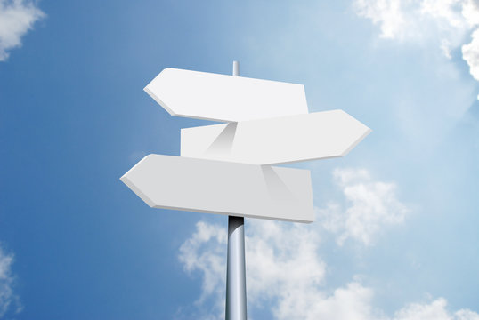 travel destinations options. Direction road sign with arrows on sky and clouds