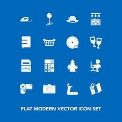 Modern, simple vector icon set on blue background with document, table, photography, sport, computer, sign, save, office, travel, drop, calculator, road, bar, accounting, paper, electric, white icons