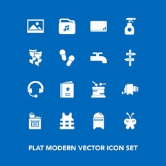 Modern, simple vector icon set on blue background with blank, instrument, chemical, sprayer, old, background, cooking, audio, pesticide, insect, mailbox, nature, pasta, favour, music, musical icons