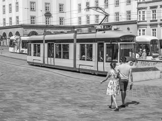 Alte Straßenbahn in der Stadt