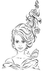 Graphic portrait of a young beautiful woman with long curly hair and a butterfly on her shoulder. Vector illustration
