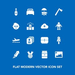 Modern, simple vector icon set on blue background with winner, vehicle, fitness, business, construction, award, fashion, bodybuilding, mascara, hammer, card, celebration, van, makeup, airplane icons